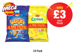 MEGA DEALS: Wotsits, Quavers, 24 Pack - Was £4.24 - Now only £3 each at Premier