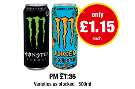 Monster Energy, Mango Loco - PM Was £1.35 - Now only £1.15 each at Premier