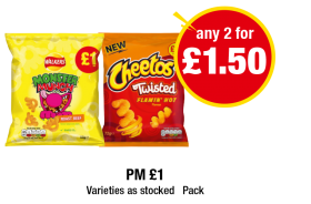 Monster Munch Roast Beef, Cheetos Twisted Flamin' Hot - PM £1 - Any 2 for £1.50 at Premier