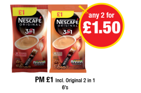 Nescafe Original 3in1, Caramel 3in1 - PM £1 Incl. Original 2 in 1 - Any 2 for £1.50 at Premier