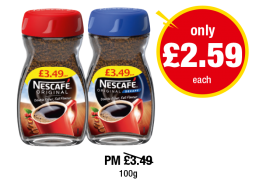 Nescafe Original, Decaff - PM Was £3.49 - Now only £2.59 each at Premier