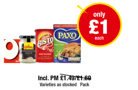 Oxo Beef, Colman's Horseradish Sauce, Aah Bisto Gravy Granules, Paxo Sage & Onion Stuffing - Incl. PM £1.49, £1.69 - Now only £1 each at Premier