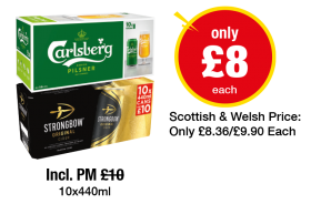 Carlsberg Pilsner, Strongbow Original - Now only £8 each at Premier