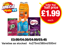 MEGA DEALS: Lucozade Energy Orange, J20 Apple & Raspberry, Lucozade Sport Orange, Ribena Blackcurrant - Better Than Half Price - Now only £1.99 each at Premier