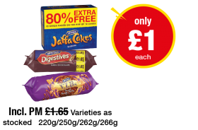 Jaffa Cakes, McVitie's Digestives Dark Chocolate, McVitie's V.I.B.s Heavenly Chocolate Hazelnut - Was Incl. PM £1.65 - Now only £1 each at Premier