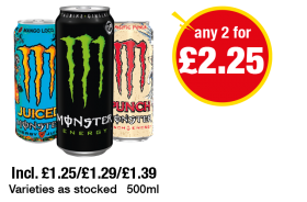 Monster Energy, Mango Loco, Pacific Punch - Any 2 for £2.25 at Premier