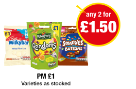 Milkybar Giant Buttons, Rowntrees Randoms, Smarties Buttons - PM £1 - Any 2 for £1.50 at Premier